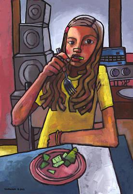 Rachel Eating Salad By Tom's Speakers Print by Douglas Simonson