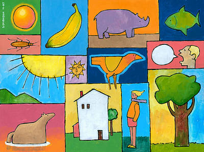 Cartoon Animals Painting - Rachel's Painting by Douglas Simonson