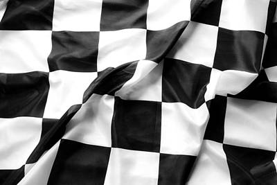 Checkers Photograph - Racing Flag by Les Cunliffe