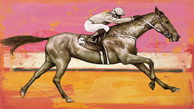 Charcoal Mixed Media - Racing Horse Stylised Pop Art Drawing Potrait Poser by Kim Wang
