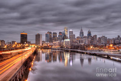 Racing To The City Lights - Philly Print by Mark Ayzenberg