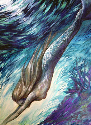 Mermaid Mixed Media - Racing Twilight by Lucy West