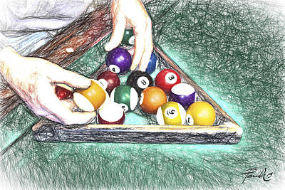 Billiards Hall Digital Art - Rack'm Up by Patti Parish