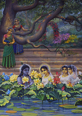 Radha And Krishna Water Pastime Print by Vrindavan Das