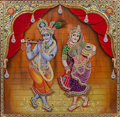 Radha Krishna Dancing Print by Vijay krishna Maram