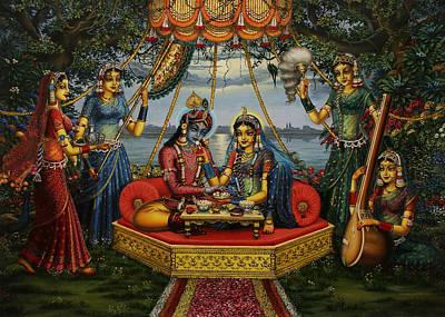 Radha Krishna Taking Meal   Print by Vrindavan Das