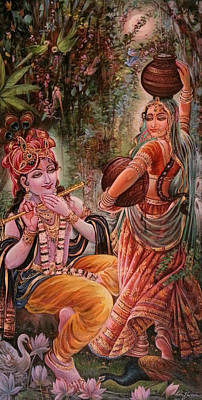 Radha Krishna Vrindawan Print by Mayur Sharma