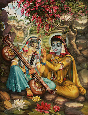 Parrot Art Painting - Radha Playing Vina by Vrindavan Das