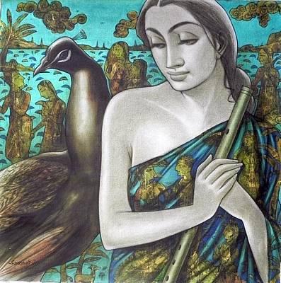Gallerie Ak Painting - Radha by Sukanta Das