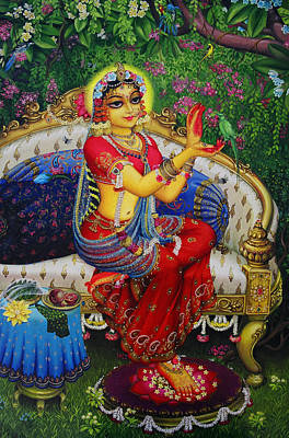 Temple Painting - Radha With Parrot by Vrindavan Das