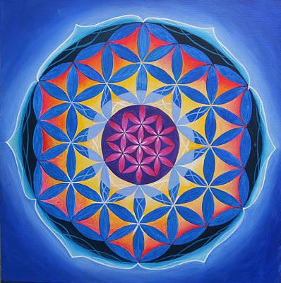 Radiant Flower Of Life Mandala Original by Graham Browne