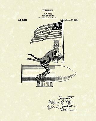Radiator Drawing - Radiator Ornament 1918 Patent Art by Prior Art Design