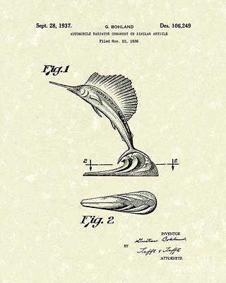 Swordfish Drawing - Radiator Ornament 1937 Patent Art by Prior Art Design