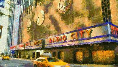 Tourist Attraction Mixed Media - Radio City Music Hall And Taxis by Dan Sproul