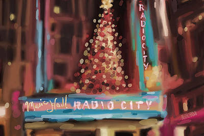 Billboards Painting - Radio City Music Hall Christmas New York City by Beverly Brown Prints