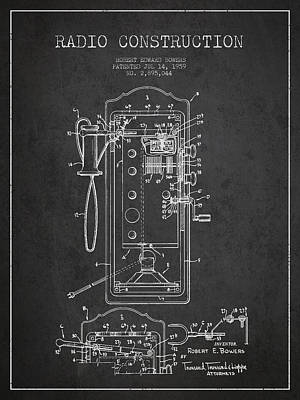 Radio Constuction Patent Drawing From 1959 - Dark Print by Aged Pixel