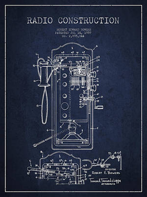 Radio Constuction Patent Drawing From 1959 - Navy Blue Print by Aged Pixel