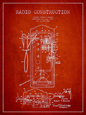 Radio Constuction Patent Drawing From 1959 - Red Print by Aged Pixel