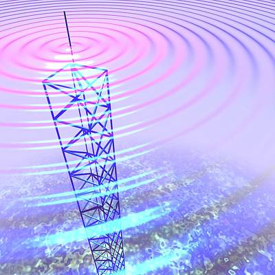 Radio Waves And Transmission Tower Print by Russell Kightley