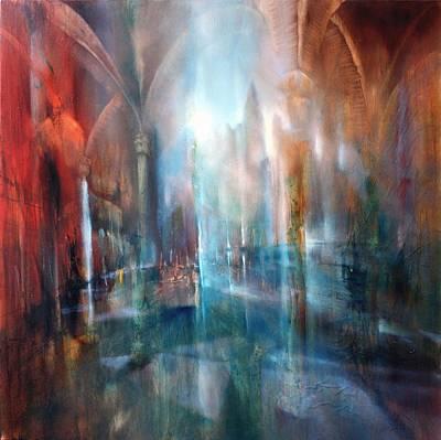 Church Pillars Painting - Raeume by Annette Schmucker