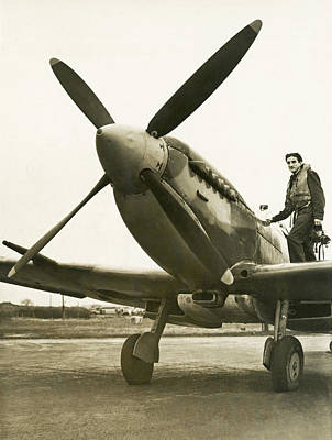 Young Man Photograph - Raf Pilot With Spitfire Plane by Underwood Archives