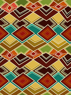 Turquoise Drawing - Raffia by Sharon Turner