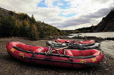 Raft Photograph - Rafts And The Nenana River, Denali by Michel Hersen