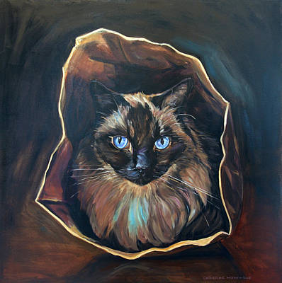 Cat Painting. Ragdoll Cat The Cat's In The Bag Original by Christine Montague