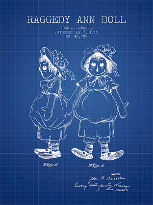 Raggedy Drawing - Raggedy Ann Doll Patent From 1915 - Blueprint by Aged Pixel