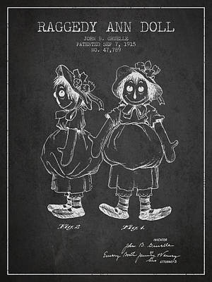 Raggedy Drawing - Raggedy Ann Doll Patent From 1915 - Charcoal by Aged Pixel