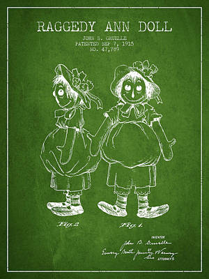 Raggedy Drawing - Raggedy Ann Doll Patent From 1915 - Green by Aged Pixel