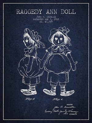 Raggedy Drawing - Raggedy Ann Doll Patent From 1915 - Navy Blue by Aged Pixel