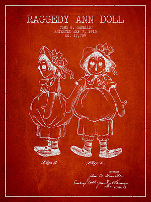 Raggedy Drawing - Raggedy Ann Doll Patent From 1915 - Red by Aged Pixel
