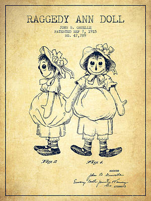 Raggedy Drawing - Raggedy Ann Doll Patent From 1915 - Vintage by Aged Pixel