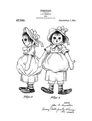 Raggedy Drawing - Raggedy Ann Patent Drawing by Dan Sproul