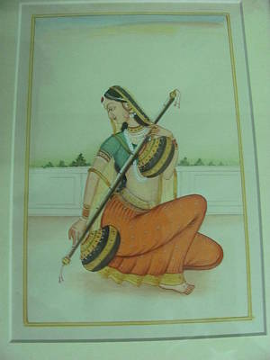 Veena Painting - Ragini-miniature Painting by Shantidevi Sharma