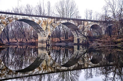 Schuylkill Digital Art - Rail Road Bridge At Phoenixville And Mont Clare by Bill Cannon