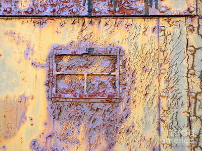 Rail Rust - Abstract - Lavender Window View  Print by Janine Riley