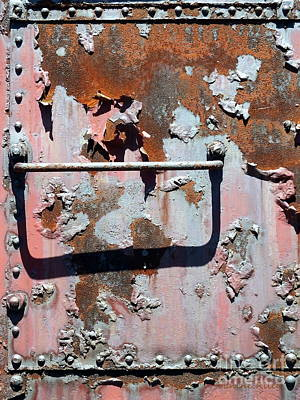 Rail Rust - Abstract - Make It Pink Print by Janine Riley