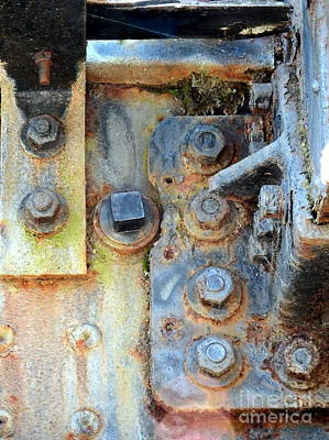 Rail Rust - Abstract - Nuts And Bolts Print by Janine Riley