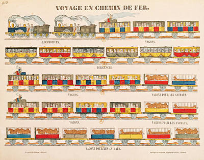 Train Drawing - Rail Travel In 1845  by French School