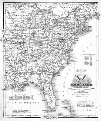 Railroad & Canal Map, 1863 Print by Granger