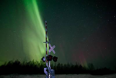 Alaska Photograph - Railroad Crossing Aurora 1 by Dora Miller