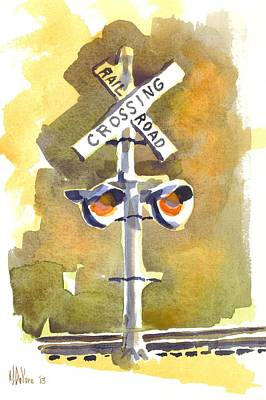 Intersection Painting - Railroad Crossing In Arcadia by Kip DeVore