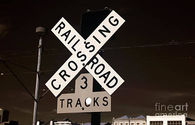 Railroad Crossing Infrared Print by John Rizzuto