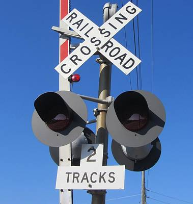 Railroad Crossing Lights Print by Cathy Lindsey