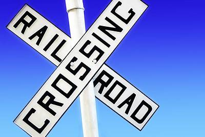 Railroad Crossing Sign Print by Chris Knorr