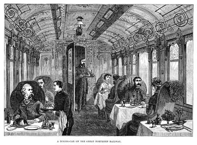 Wine Service Painting - Railroad Dining Car, 1879 by Granger