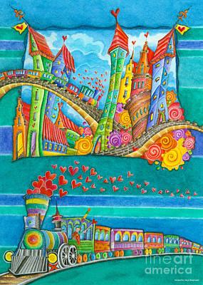 Multicolored Painting - Railroad - Kids Train by Sonja Mengkowski