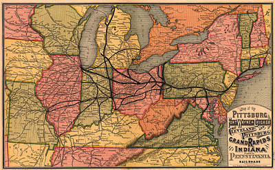 1874 Drawing - Railroad Map Of The Eastern United States 1874 by Mountain Dreams